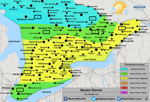 Thunderstorm Forecast, for Southern Ontario. Issued October 1st, 2019.