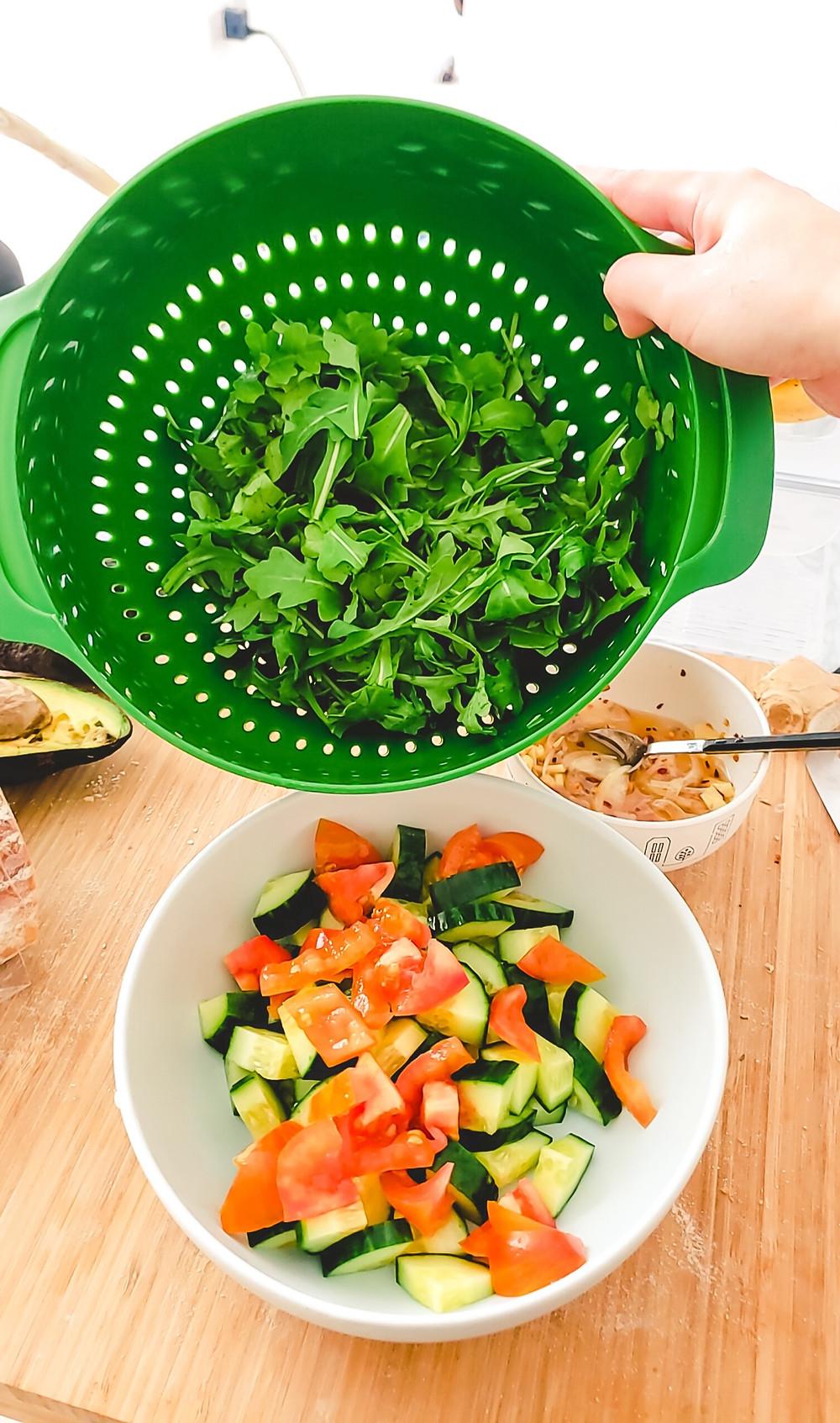 arugula cucumber tomato salad