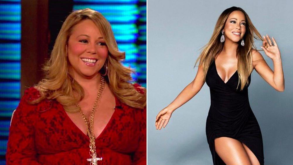 Mariah Carrey gorda y flaca.