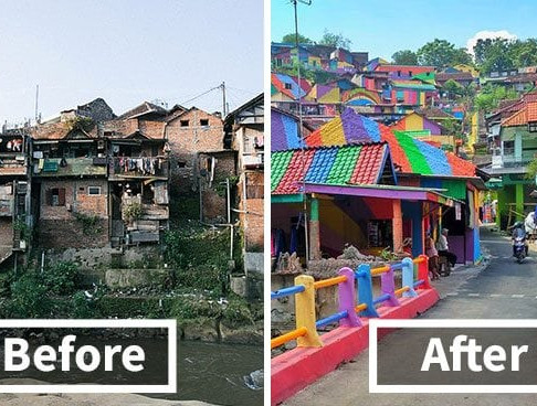 Indonesian Slum Transforms Into Rainbow Village