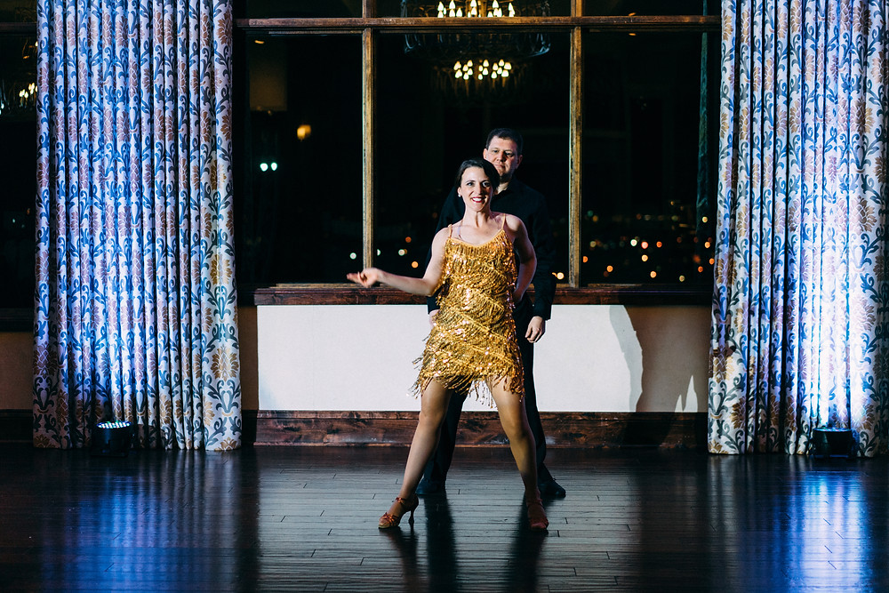 Start of a showcase with motion in the dress