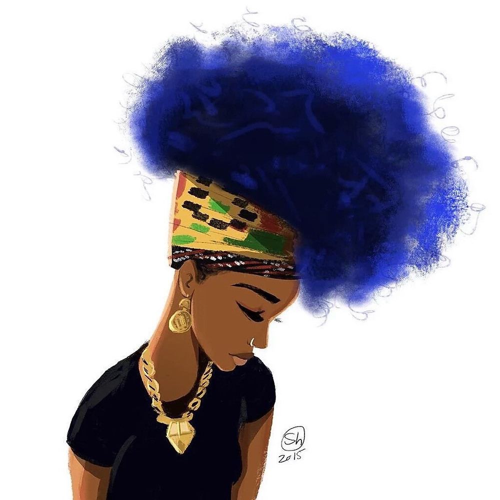 Black art of a black woman and blue hair