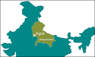 Map of India in blue with the city of Agra pointed within its state