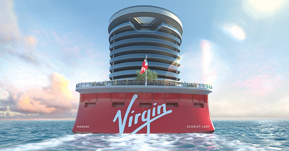 Aft view of the Scarlet Lady cruise ship from Virgin Voyages