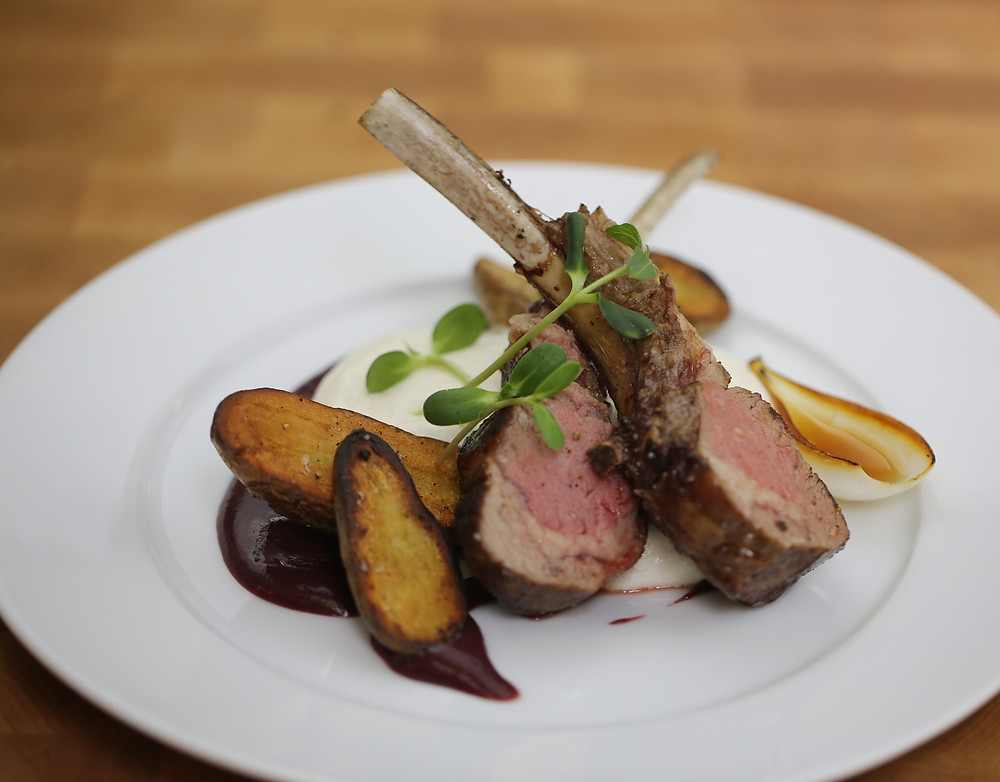 plated rack of lamb entree