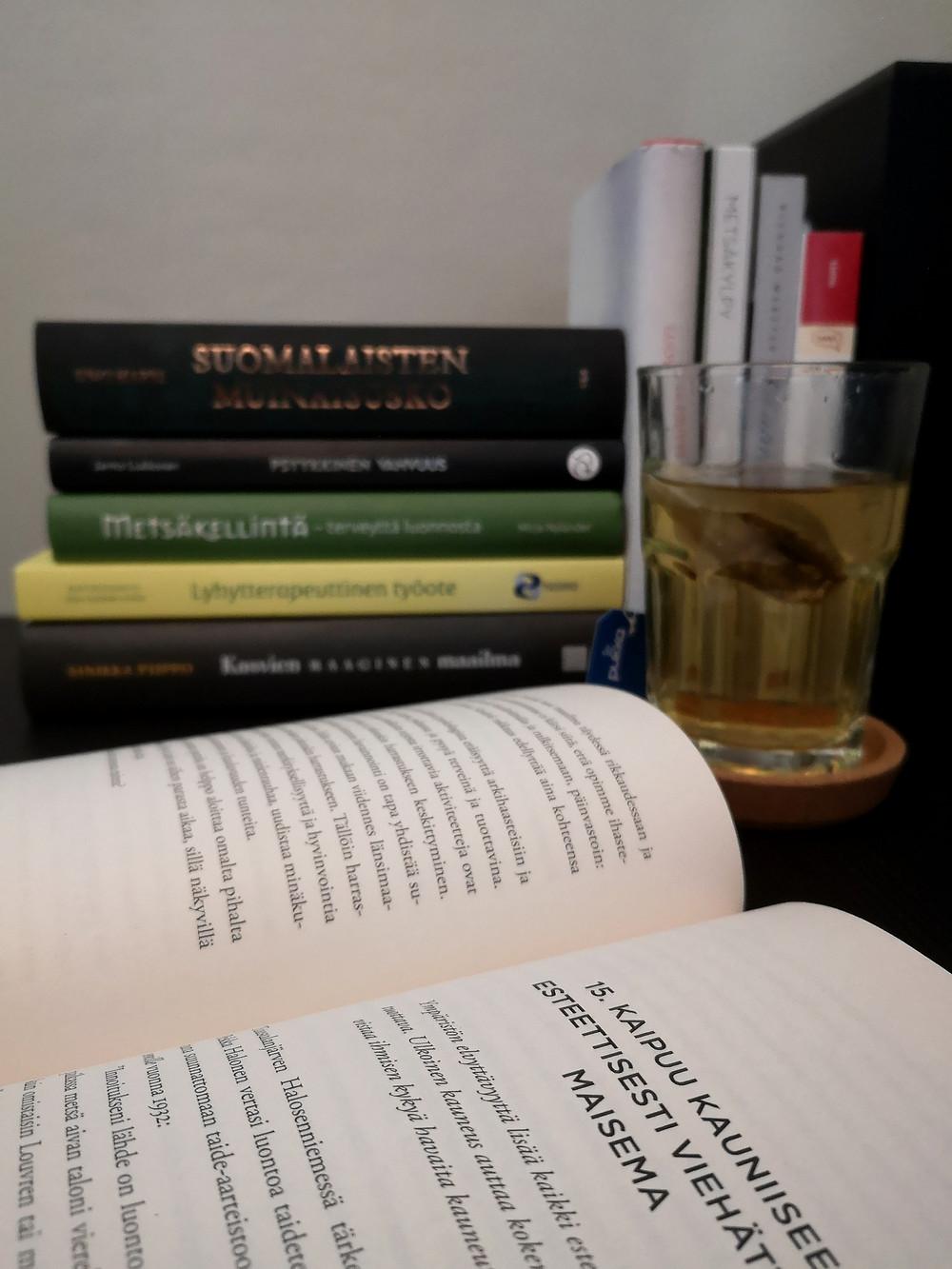 aukinainen kirja, kirjapino, teekuppi, työpöytä
