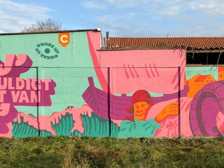 Kunstenaar Hedy Tjin maakt mural over De Hanze op het Havenkwartier