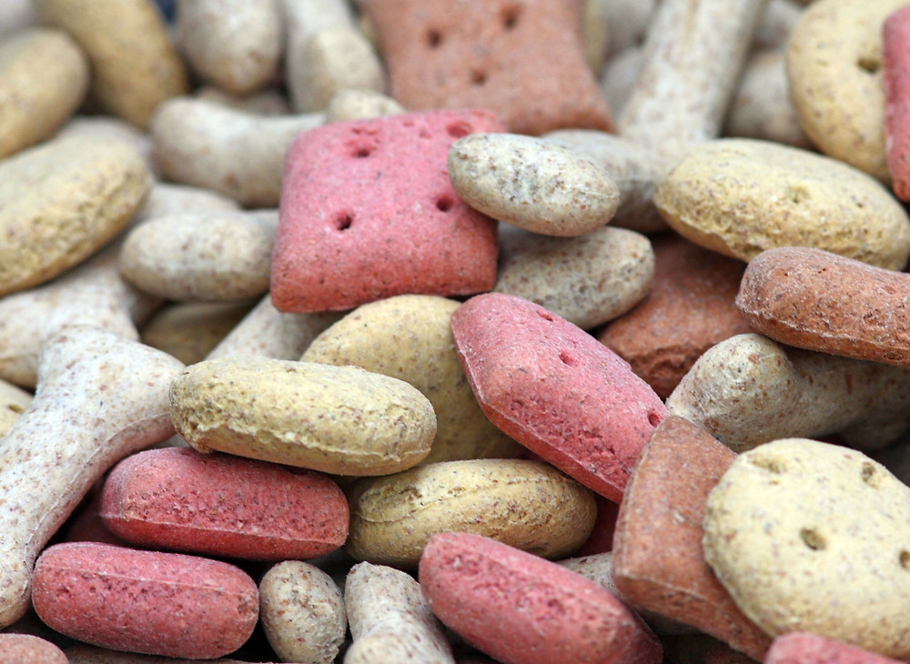 close up of dry dog cat kibble food