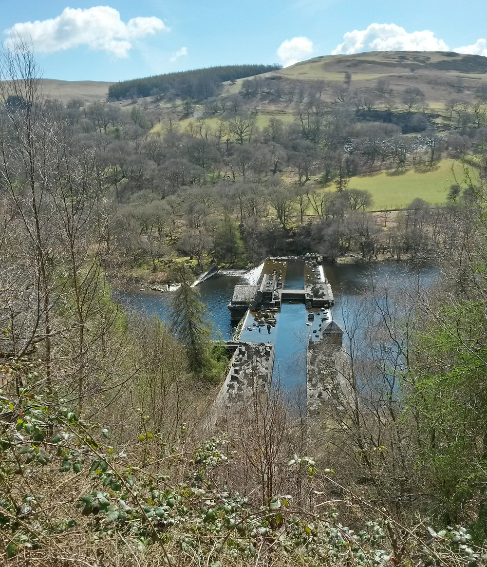 The unfinished dam in the Claerwen valley.