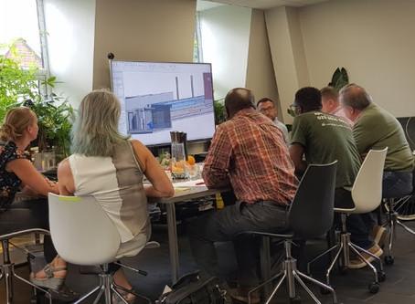 Design team meeting to discuss pool detailing