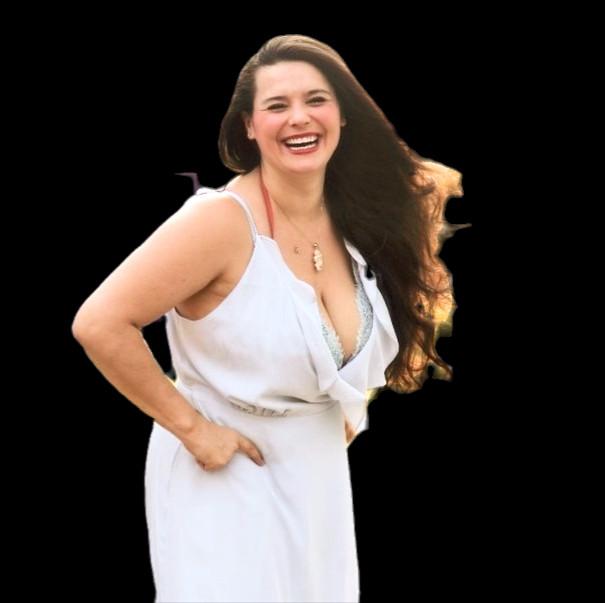 Autumn Seibel smiling in white dress