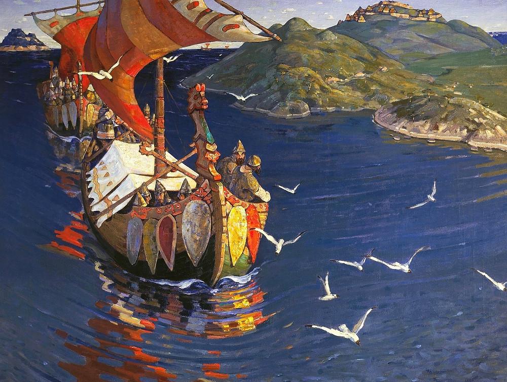 Le peintre, poète et gourou Nikolaï Roerikh a beaucoup dessiné, peint et surtout imaginé cette Russiefondée par Riourik, et baptisée bien plus tard par son descendant Vladimir, le futur saint Vladimir-égal-aux-apôtres, en 988, dans le Dniepr, à Kiev. Ici Roerikh nous montre l'arrivée des «invités étrangers», qui apportent avec eux la fougue guerrière et le mot pour désigner ce qui deviendra l'actuelle et immense Russie.