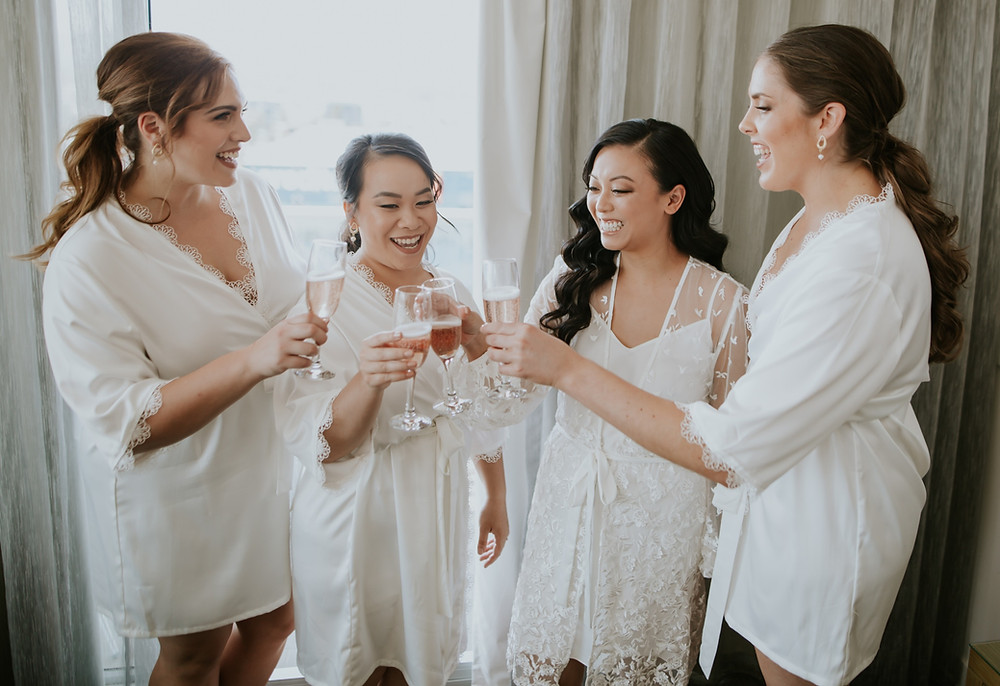 airbush makeup on bride and bridesmaids