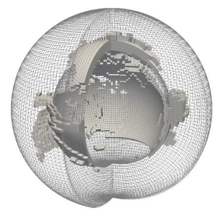 GFDL ESM2M atmosphere grid with CO2 isovolume threshold from average to maximum concentration