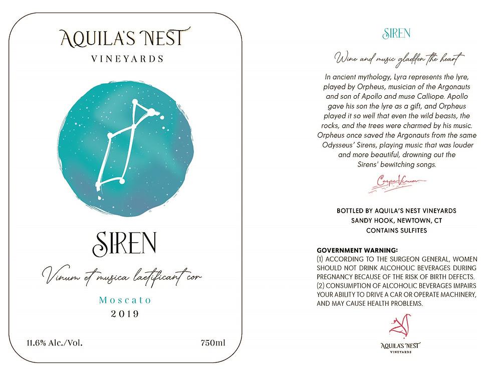 Aquila's Nest Vineyards Siren Moscato Label
