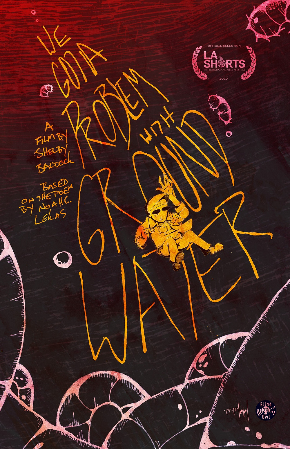 A poster in the film's unique art style showing the main character sinking to the dark depths of the red water