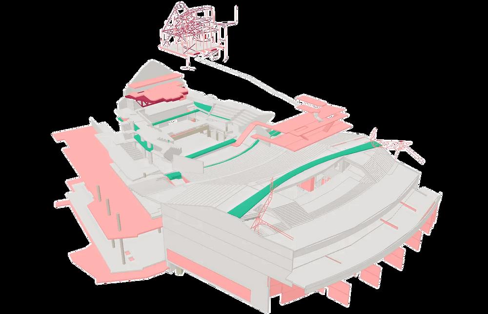 A 3D model of a construction site