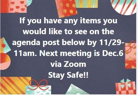 Taking Items for Agenda thru November 29 2020