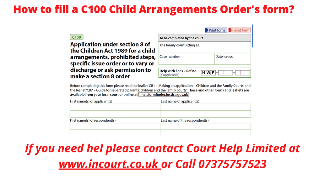 C100 Form Child Arrangements, Prohibited Steps:  Family Law Applications