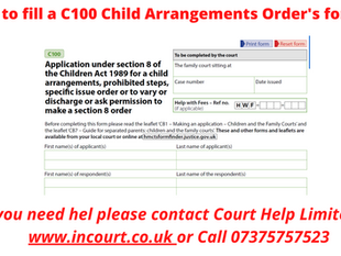 How to fill a C100 Child Arrangements Order form?
