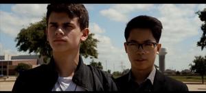 John Kline (Aiden Call) and David Chu (Jacob Vu), the main protagonists of the Origin series.