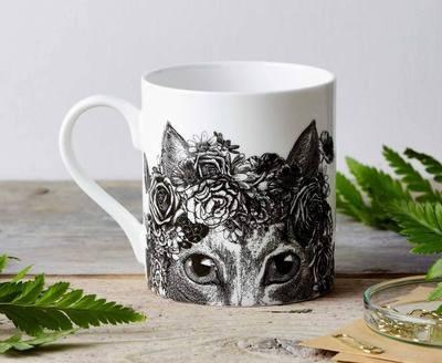 Flower cat design fine china mug