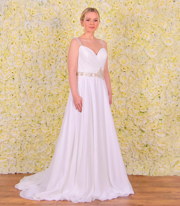 grecian style chiffon wedding dress sparkly belt and soft cap sleeves