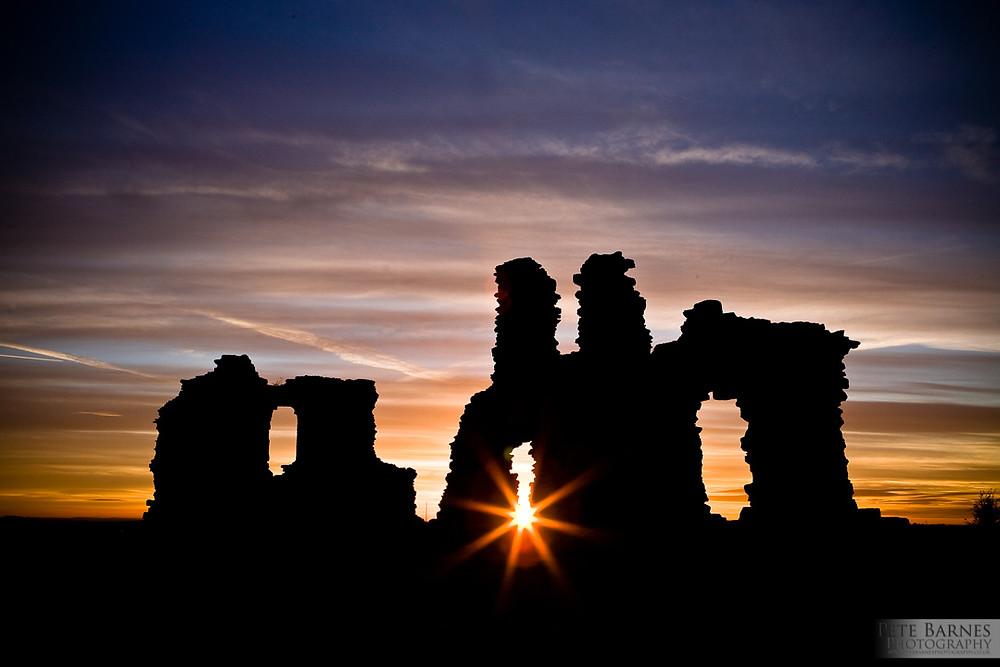Silhouette of Sandal Castle near Wakefield