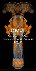 "John 1:29 ""Behold! The Lamb of God who takes away the sin of the world!"" Fractal Art Crucifix"