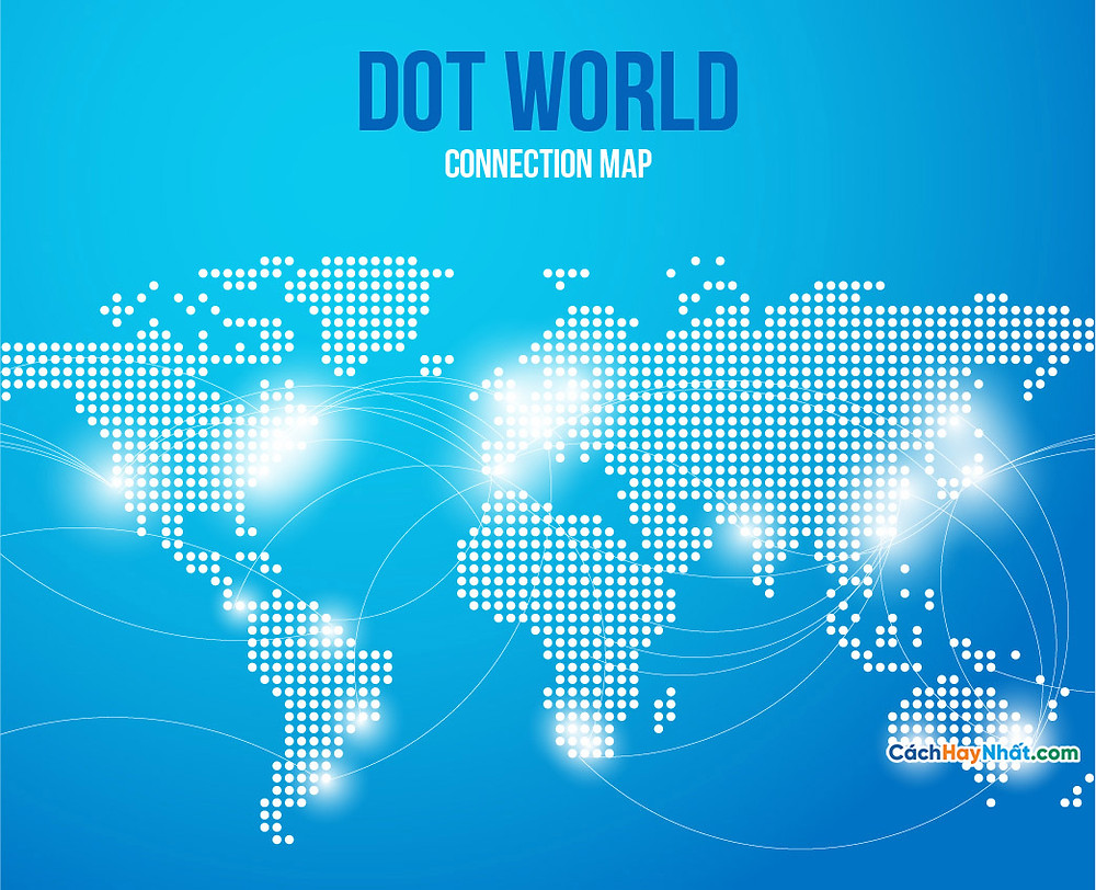 Bản Đồ Thế Giới map points world connections blue background
