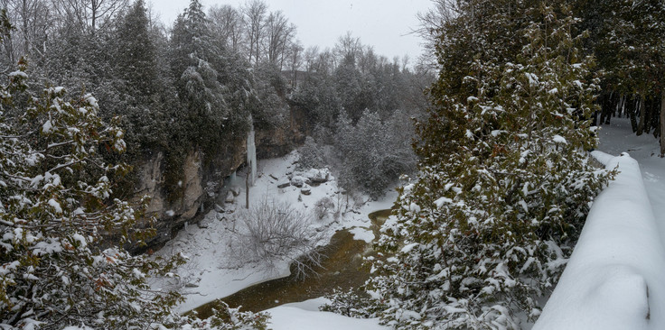 Panoramic view of a snow covered Elora Gorge near Toronto Ontario