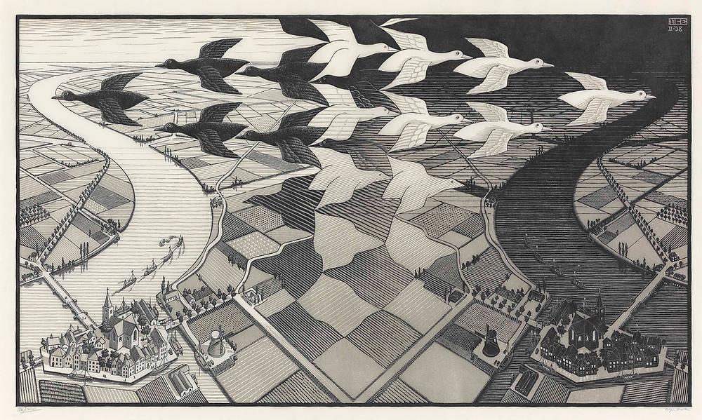 Maurits Cornelis Escher Day and Night (B. 303), 1938