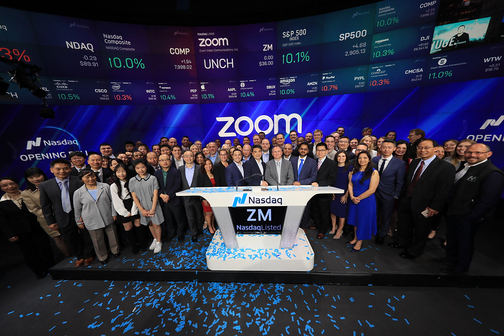 """ZOOM goes public on the Nasdaq trading as """"ZM"""" on April 18, 2019."""