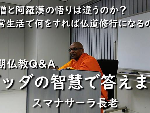 新着動画|【初期仏教Q&A】禅僧と阿羅漢の悟りは違うのか?/日常生活で何をすれば仏道修行になるのか?(スマナサーラ長老