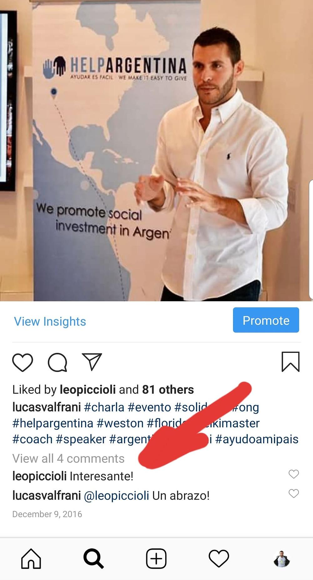 Comentario Leo Piccioli en el de IG Lucas ValFrani