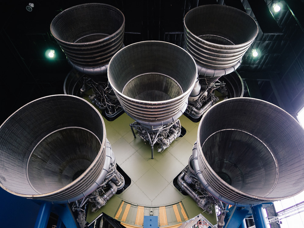 Saturn V engines from behind, wide angle