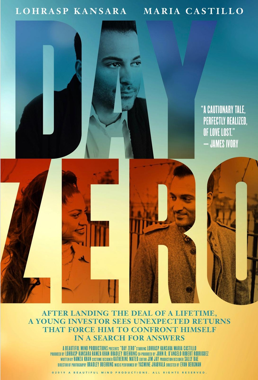 Poster for Day Zero showing protagonists Lohrasp Kansara and Maria Castillo.