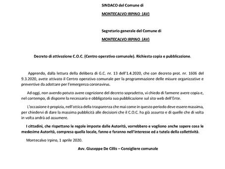 AL COMUNE DI MONTECALVO ALTRI 26.131,36 EURO PER EMERGENZA CORONAVIRUS