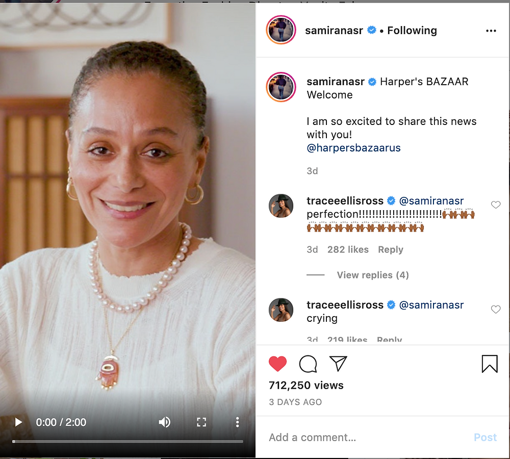Tracee Ellis Ross congratulates her friend on her new feat. source: @samiranasr