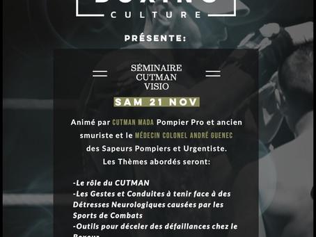 BOXING CULTURE présente le premier séminaire-cutman visio en France.