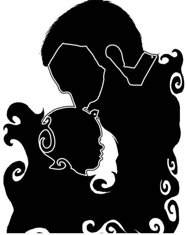 A Father kisses the head of his Daughter in a Black Silhouette image on white background.
