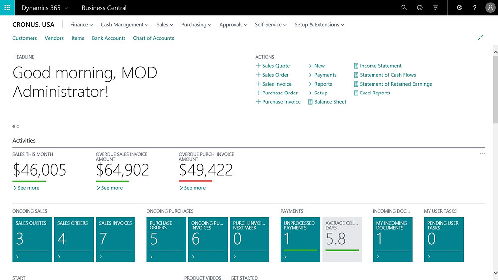 Microsoft Dynamics 365 Business Central Home Page
