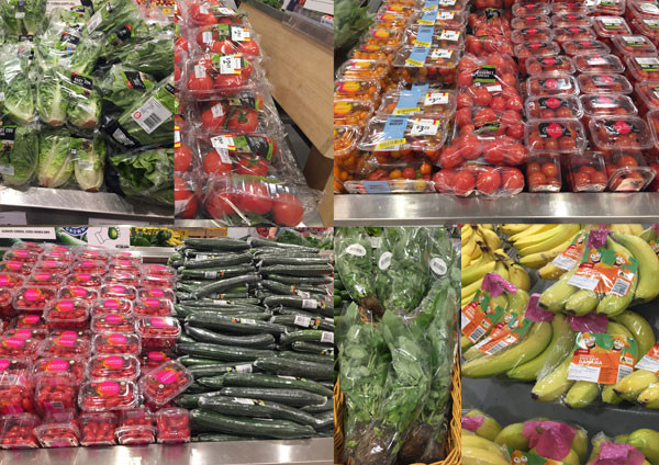 A composite image of some of the fresh produce wrapped in plastic