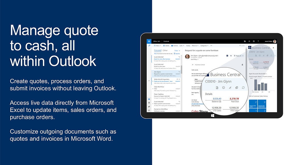 Manage quoteto cash, all within Outlook