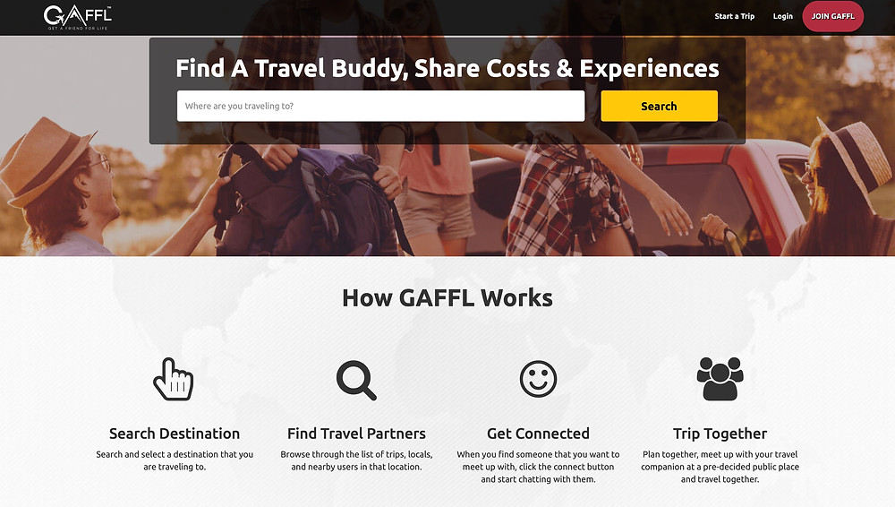 find travel companion - travel buddy - gaffl website