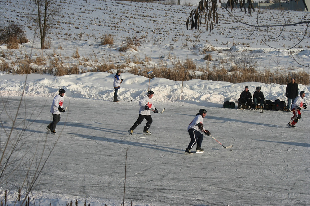 Practicing Road Trip Tour Hockey in Canada Winter