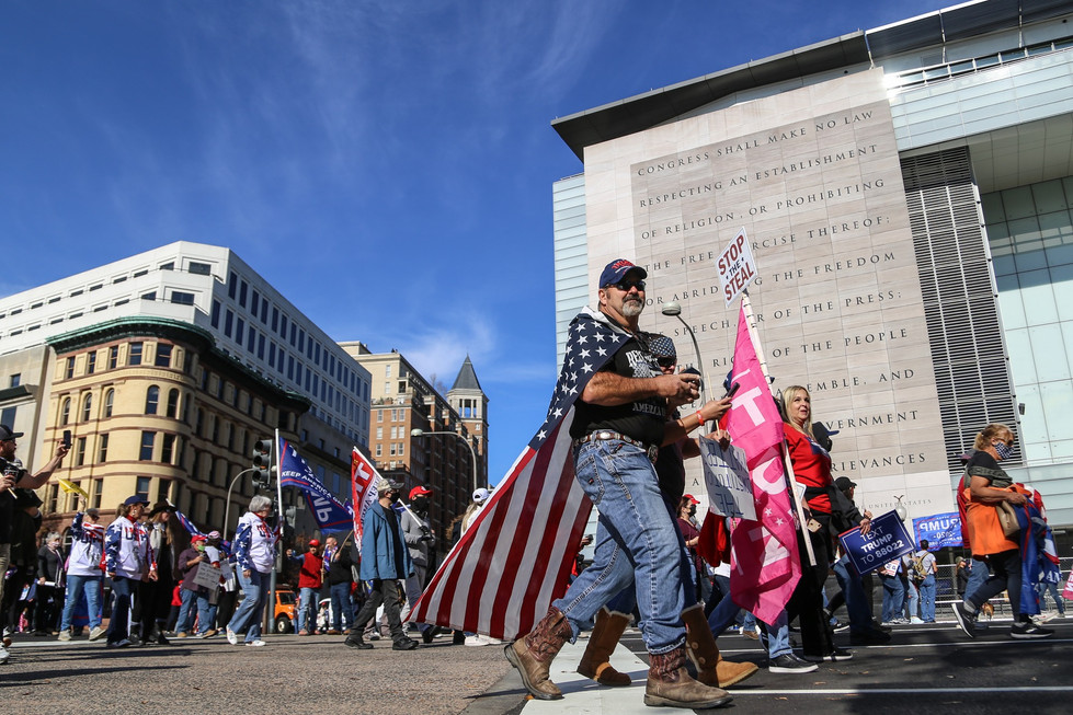 """The """"Million MAGA March"""" promenades through Washington, under their First Amendment rights. Two months later, many of the same people stormed the Capitol."""