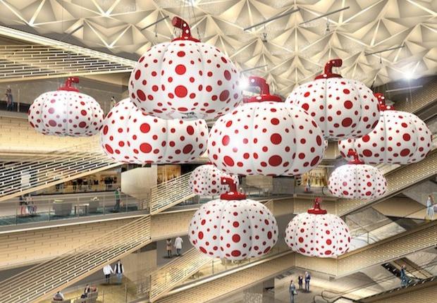 Esculturas de Yayoi Kusama no Ginza Six (Foto: Japan Trends website)