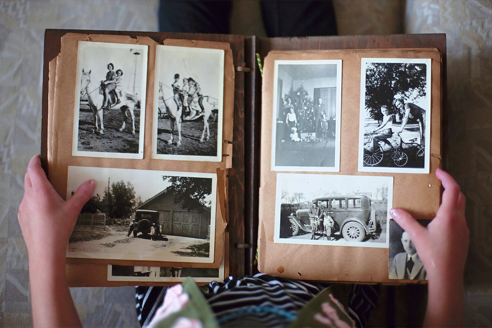 Photo album with black and white pictures