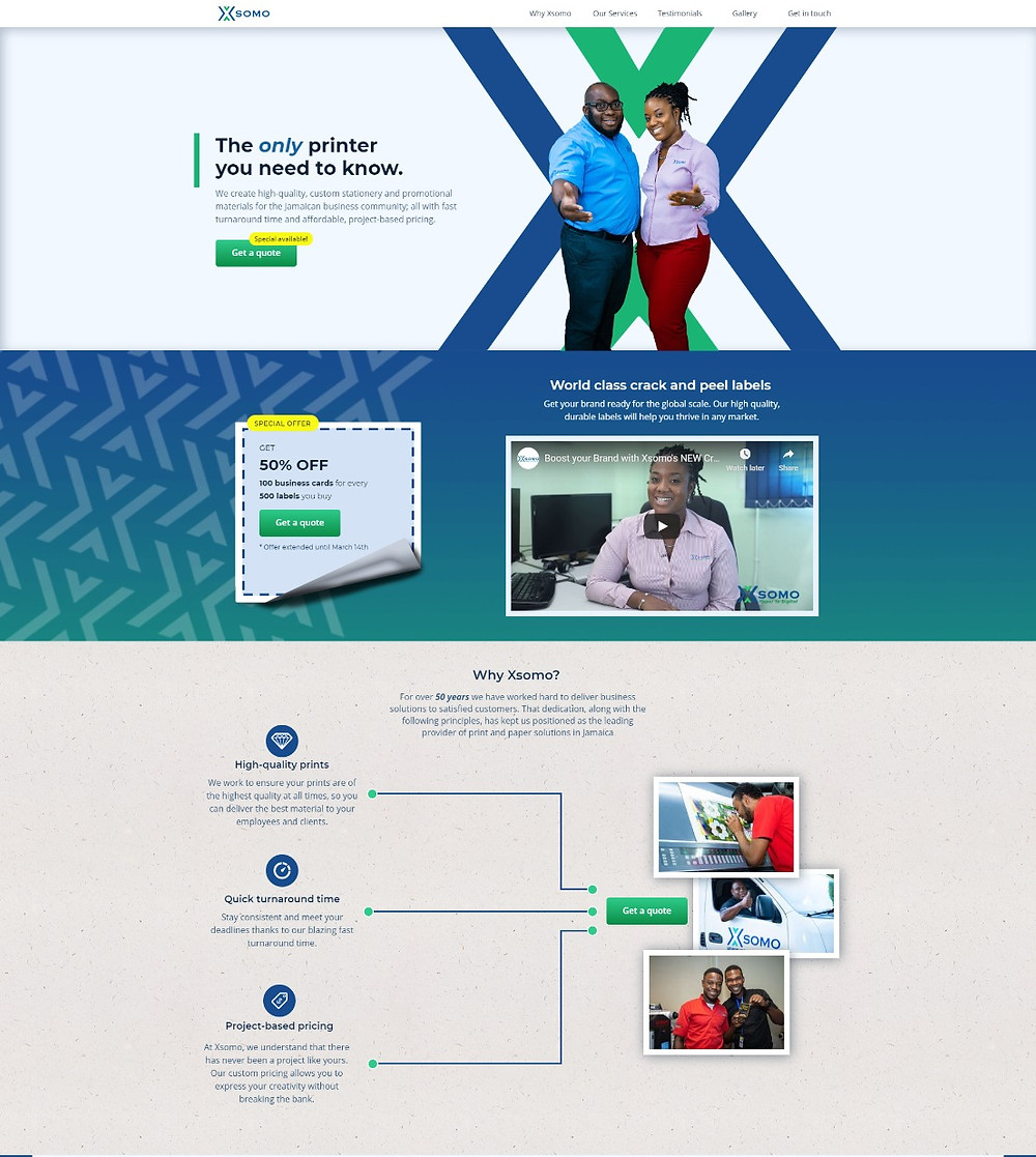 A preview of the XSomo landing page